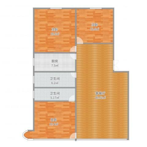 邮电宿舍6043室2厅2卫1厨140.00㎡户型图