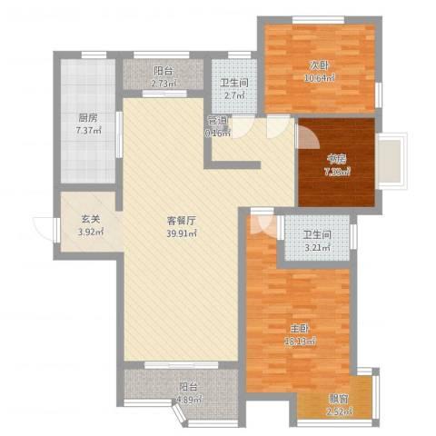 天玺国际3室2厅2卫1厨121.00㎡户型图