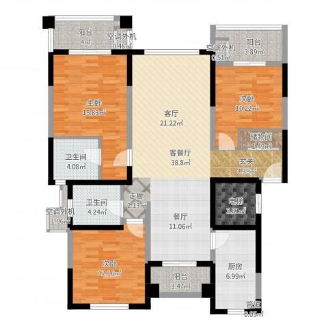 宝宸怡景园3室3厅5卫2厨139.00㎡户型图