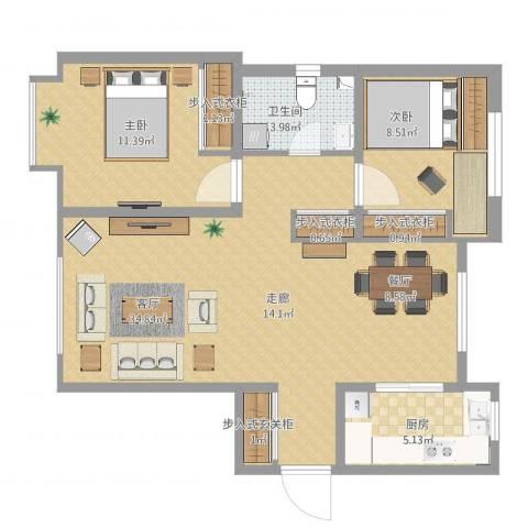 乐豪斯-金泰丽湾两室两厅Hs0022室1厅1卫1厨84.00㎡户型图