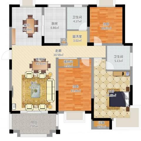 北城名郡3室2厅4卫1厨141.00㎡户型图