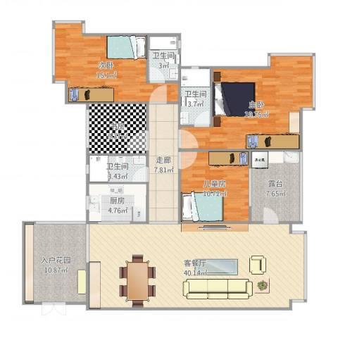 城市丽都花园4室2厅4卫1厨133.32㎡户型图