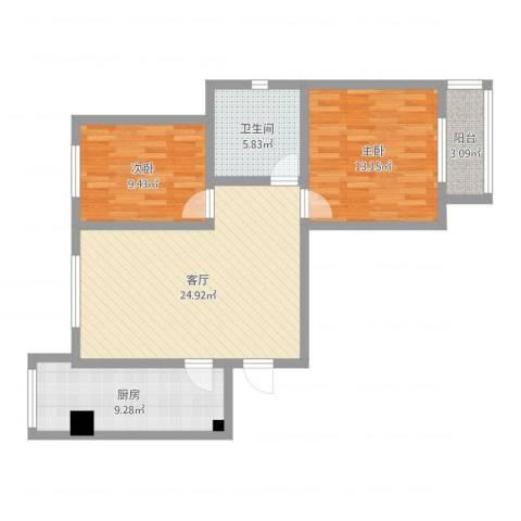 泰安盛世郡2室1厅1卫1厨82.00㎡户型图