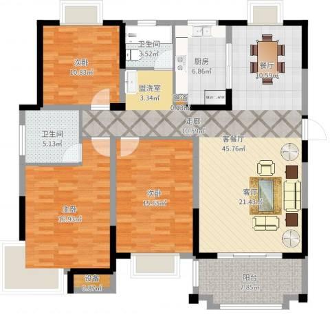 北城名郡3室2厅2卫1厨142.00㎡户型图