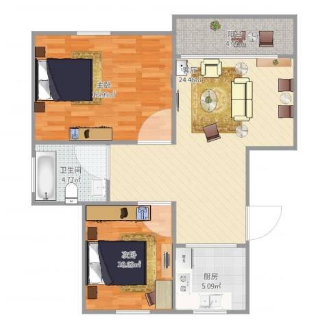 汇颂南苑2室1厅1卫1厨90.00㎡户型图