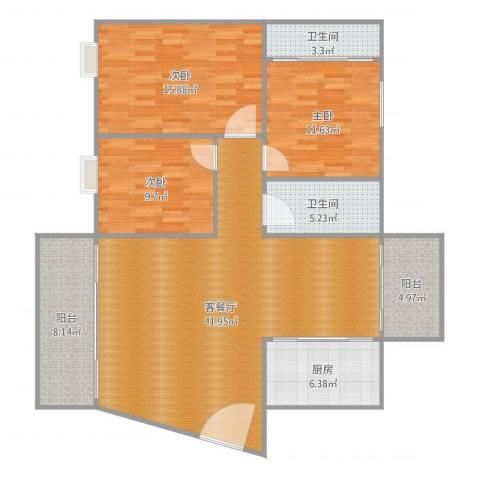 御景城市花园3室2厅2卫1厨144.00㎡户型图