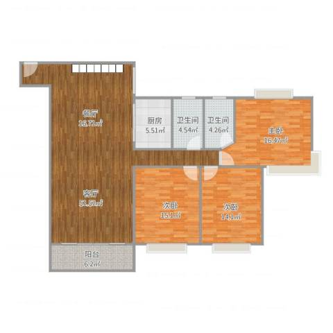 领东上筑3室1厅2卫1厨157.00㎡户型图