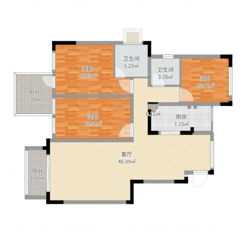 城海滨江春城一期3室1厅2卫1厨145.00㎡户型图