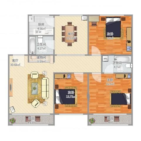 大华一村3室2厅2卫1厨150.00㎡户型图