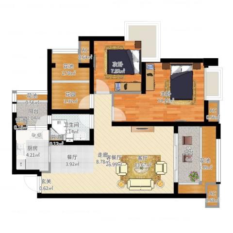 中海胥江府2室2厅1卫1厨93.00㎡户型图