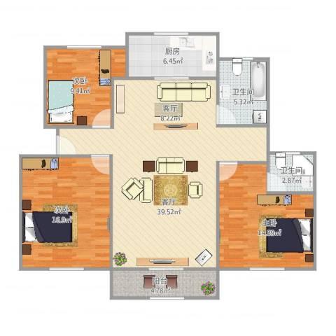 汤巷馨村3室1厅2卫1厨134.00㎡户型图