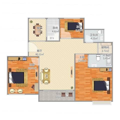 保利御樽苑3室2厅2卫1厨168.00㎡户型图