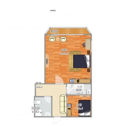 鲁班大楼2室1厅1卫1厨83.00㎡户型图