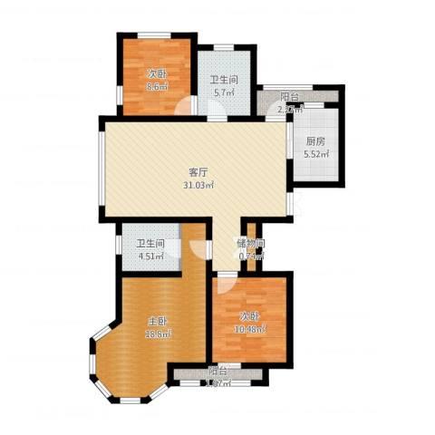 新湖・香格里拉3室1厅2卫1厨112.00㎡户型图