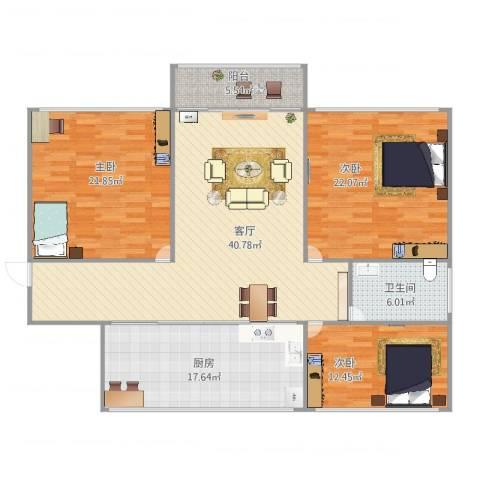 水岸名都紫荆苑1323室1厅1卫1厨167.00㎡户型图