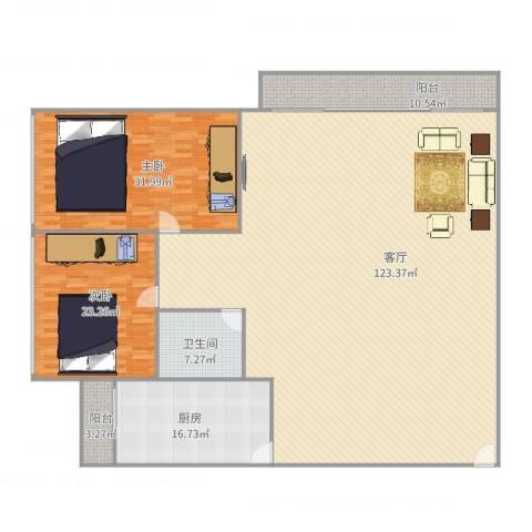 碧翠华庭2室1厅1卫1厨282.00㎡户型图