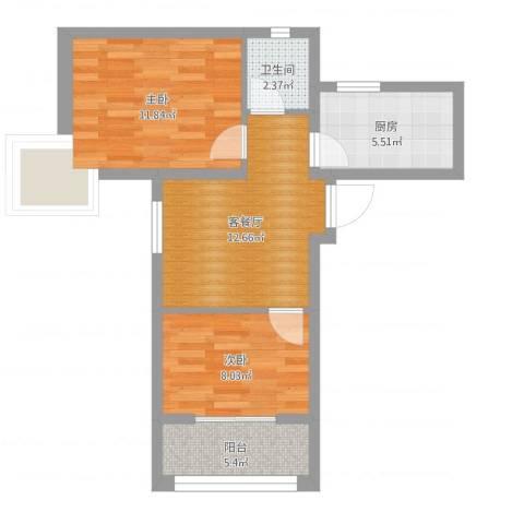贻成豪庭2室2厅1卫1厨56.00㎡户型图