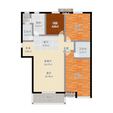高新名门3室2厅2卫1厨160.00㎡户型图