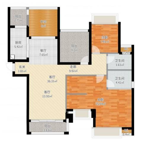 晶蓝上城2室1厅2卫1厨135.00㎡户型图