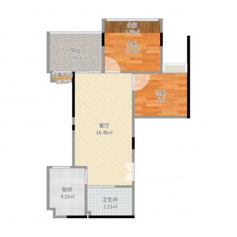 丹枫雅苑2室1厅2卫1厨54.00㎡户型图