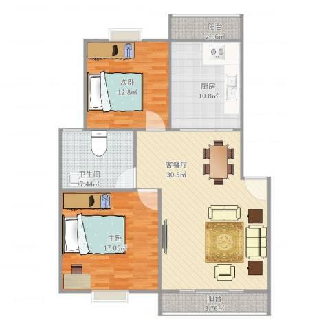 江南星城2室2厅1卫1厨114.00㎡户型图