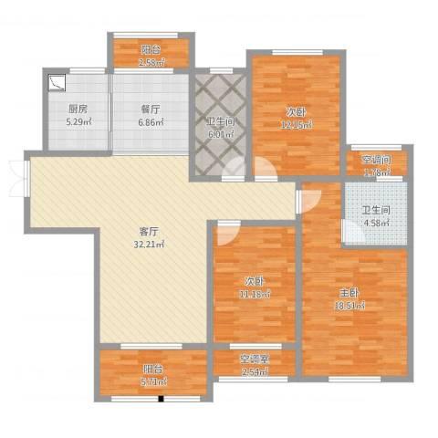 理工帝湖湾3室2厅2卫1厨137.00㎡户型图