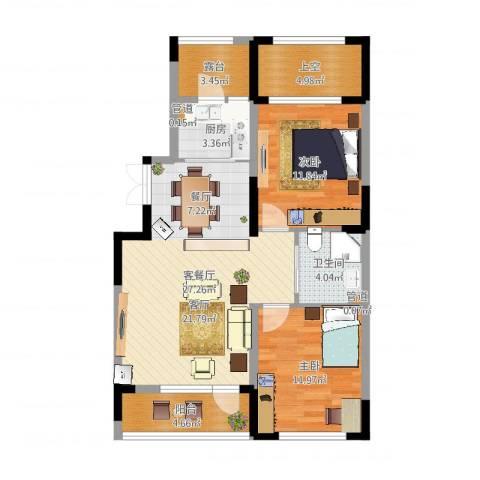 抚顺澳海澜庭2室2厅1卫1厨90.00㎡户型图