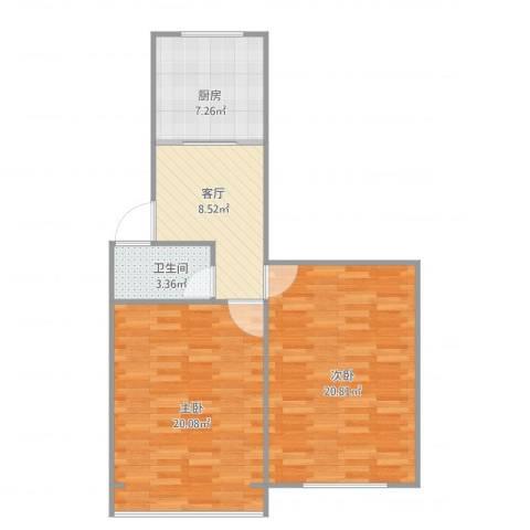 梅陇十一村2室1厅1卫1厨80.00㎡户型图