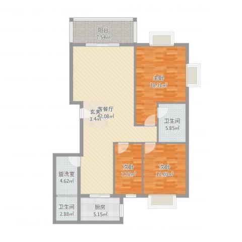 新新家园3室4厅2卫1厨133.00㎡户型图