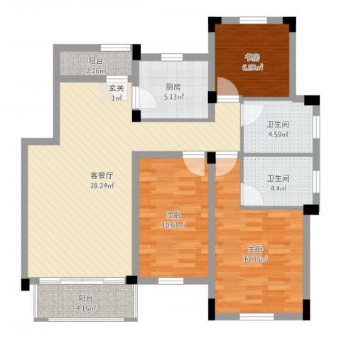 九江国际湾八里湖特色风情小镇3室2厅2卫1厨115.00㎡户型图