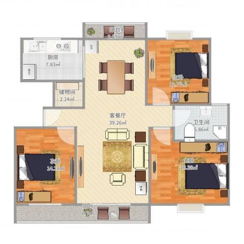 江南星城3室2厅1卫1厨145.00㎡户型图