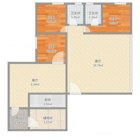 流行前线3室2厅2卫1厨57.00㎡户型图