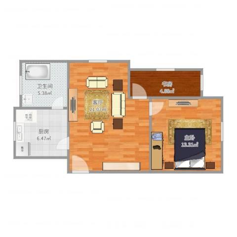 宝钢七村2室1厅1卫1厨55.00㎡户型图