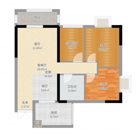 黄龙花园2室2厅1卫1厨91.00㎡户型图