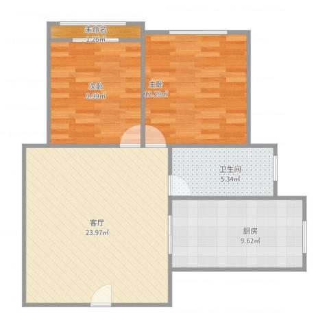 龙柏四村2室1厅1卫1厨84.00㎡户型图