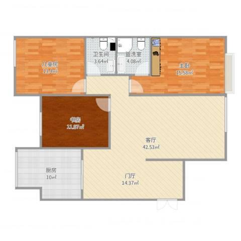 万象上东3室3厅1卫1厨126.00㎡户型图