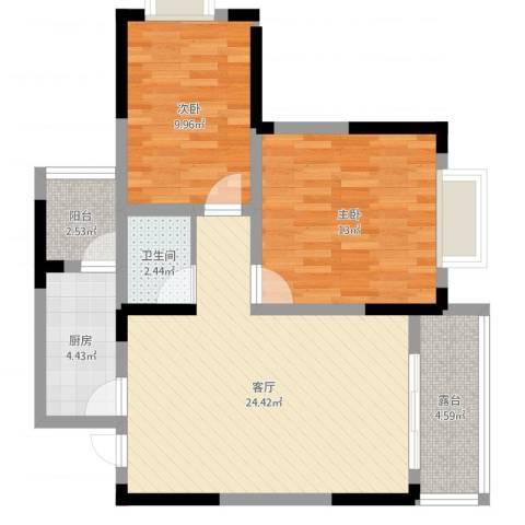 明华龙洲花园2室1厅1卫1厨77.00㎡户型图