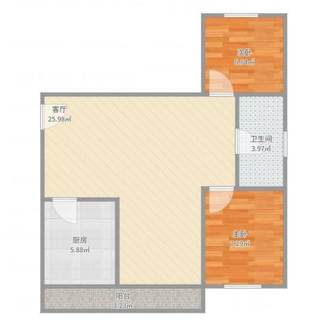 海棠村2室1厅1卫1厨71.00㎡户型图