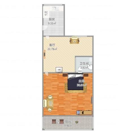乐山八九村1室1厅1卫1厨100.00㎡户型图