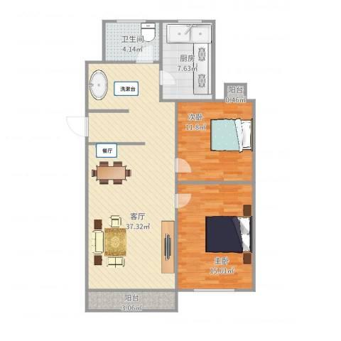 红旗三村2室1厅1卫1厨108.00㎡户型图