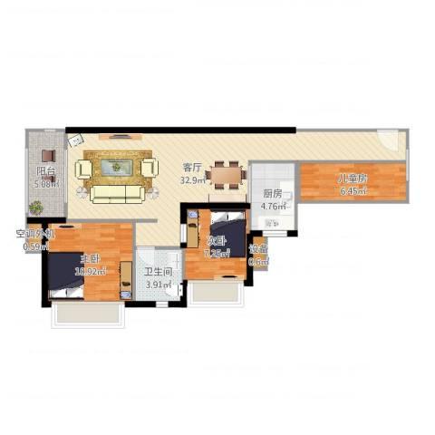 富川瑞园3室1厅2卫2厨91.00㎡户型图