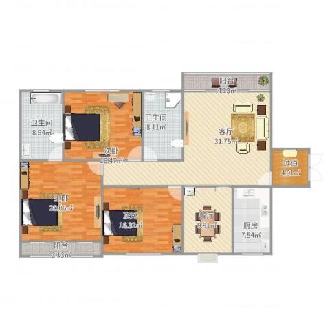 幸运福邸3室2厅2卫1厨175.00㎡户型图