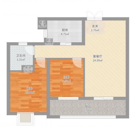 新湖青蓝国际2室2厅1卫1厨73.00㎡户型图
