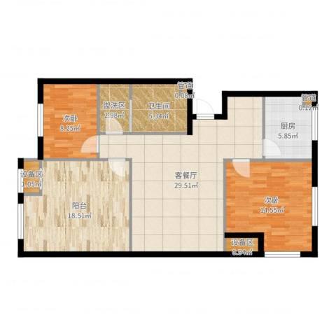 新业美居2室2厅1卫1厨109.00㎡户型图