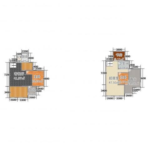 蓝湾国际花园3室2厅1卫1厨196.04㎡户型图