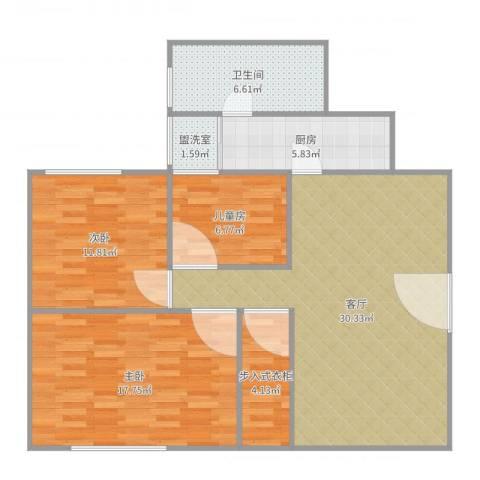 兴业新村3室3厅1卫1厨114.00㎡户型图