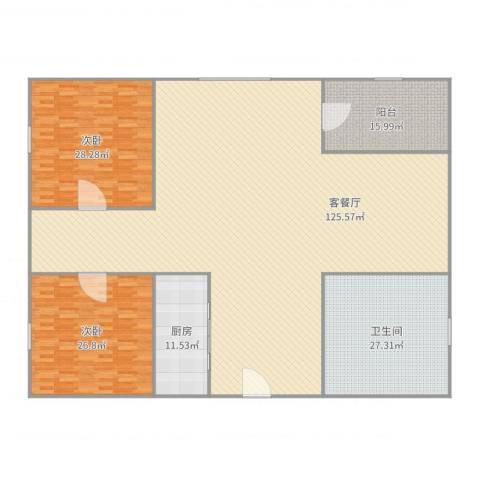 盈翠园2室2厅1卫1厨306.00㎡户型图