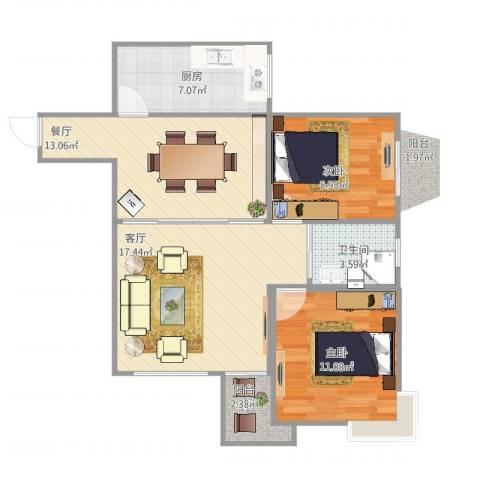 百花公寓3-27012室2厅1卫1厨86.00㎡户型图