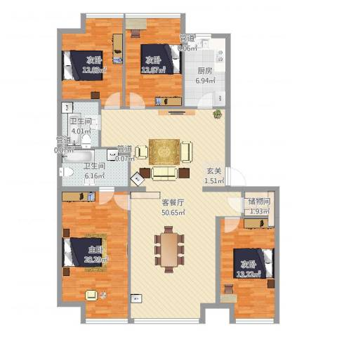 UHN国际村4室2厅2卫1厨160.00㎡户型图