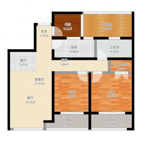 翠屏诚园3室2厅1卫1厨96.00㎡户型图